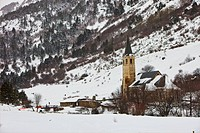 Snowy landscape in Catalan Pyrenees.