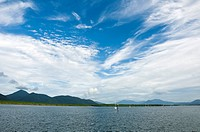 Cloudscape off harbour towards Green Island , Cairns , Queensland , Australia