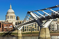United Kingdom, London, Millennium Bridge and St Pauls Cathedral dome