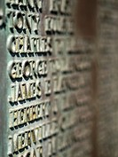Names carved on a soldier's memorial in Newburyport, Massachussetts, United States