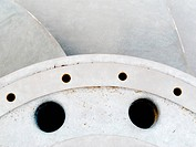 Closeup of metal hydroelectric turbine rotor