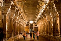 Pillar corridor in jambukeshwara temple in Thiruvanaikaval , Tiruchchirappalli , Tamil Nadu , India