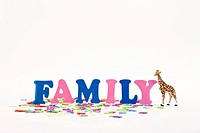Toy giraffe and ´family´ letters