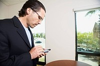 Businessman Using a Personal Digital Assistant