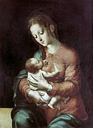 fine arts, Morales, Luis de 1509 _ 1586, painting, Madonna and Child, circa 1570, oil on panel, Prado, Madrid,