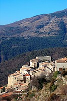 Perched village of Thiery, Alpes-Maritimes, 06, Var valley, PACA, France