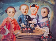 fine arts, Rococo, four of eight children of jugde Johann Michael Stroeber, unknown artist, painting, circa 1770/1780, oil on canvas, Bad Toelz Museum...