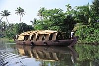 Tourist boat ; Allepey ; Kerala ; India