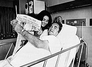 Alabama Governor George Wallace and his wife, Cornelia, hold up newspaper with headline 'Wallace wins in Maryland, Michigan', Democratic Presidential ...