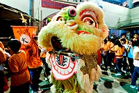 Chinese newyear celebration with lion mask dance , Calcutta Kolkata , West Bengal , India