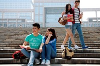 Four university students in campus