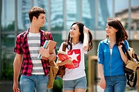 Three university students in campus