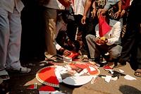 Protester burning valentine day greeting cards at , Mulund , Bombay , Mumbai , Maharashtra , India