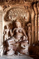 Statue of ambika in ellora jain cave at indra sabha , Aurangabad , Maharashtra , India