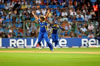 Sri Lankan bowler Lasith Malinga celebrate wicket of Indian batsman Virendra Sehwag Not in picture during the 2011 ICC World Cup Final between India a...