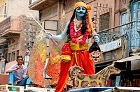 A man in disguise of some avtar in procession of Ramnavami_Jodhpur Rajasthan India no mr