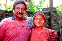 Couple Celebrating Holi Festival MR364 India Asia