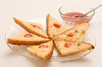 Chilli cheese toast with tomato ketchup bowl Pune Maharashtra India asia Sept 2011