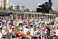 Video Camera Mounted on Crane Coverage Crowd Mumbai Maharashtra India Asia Dec 2011
