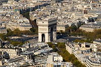 Aerial view of Arc de Triomphe, Paris