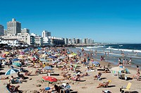 A full beach in Punta del Este, Uruguay