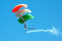 Three parachutes join to show a Indian flag , Jodhpur , Rajasthan , India