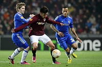 Europa League, 2nd round, Sparta Praha vs Chelsea FC in Prague, Czech Republic, February 14, 2013 From left: Marko Marin of Chelsea, Vaclav Kadlec of ...
