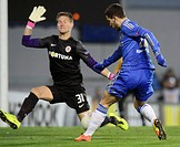 Europa League, 2nd round, Sparta Praha vs Chelsea FC in Prague, Czech Republic, February 14, 2013 From left: Tomas Vaclik of Sparta and Eden Hazard of...