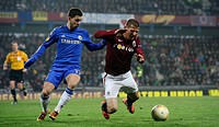 Europa League, 2nd round, Sparta Praha vs Chelsea FC in Prague, Czech Republic, February 14, 2013 Eden Hazard left of Chelsea and Manuel Pamic of Spar...