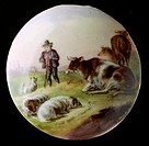 fine arts, painting, painted beer jug lid, transfer lithograph, coloured, shepherd with cows and sheep, Germany, 2nd half 19th century,