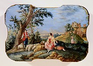 fine arts, painting, pastoral, shepherd at the drinking through and resting farmwoman, wood, lid of a casket, 18th century,