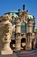 Image of Ornaments at the Wall_ or French Pavilion one of the Main Attractions at the Zwinger a Major Landmark at the old town of Dresden in Germany.