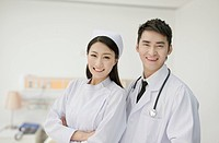 Smiling Chinese doctor and nurse