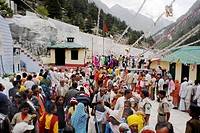 Devotees queue queues Gangotri temple temples Color Colors devotee female females Hindu Hinduism Horizontal India male males man men North Outdoor peo...