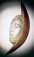 fine arts, Grasser, Erasmus, circa 1450 _ 1518, sculpture, Halfmoon with human face, wood, Munich, circa 1480, carving for the dancehall of the Munich...