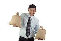 Office going man balancing two bags of money holding in both hands MR776C
