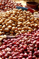 Onion and potatoes market at devgad , Konkan , Maharashtra , India
