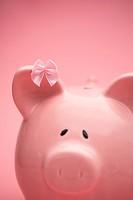 Piggy bank wearing pink ribbon