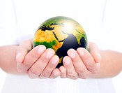 globe holded in human hands