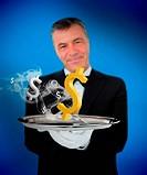 Waiter offering smoking dollars