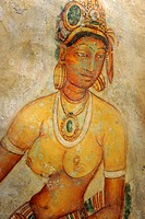 Sigirija, Sri Lanka, Asien , unique Frescoes of woman with bare breasts at the ancient rock fortress of Sigiriya, Sri Lanka, Asia