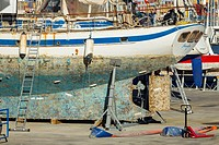 Steel hulled yacht in drydock in Las Palmas Marina, Gran Canaria, Canary Islands, Spain