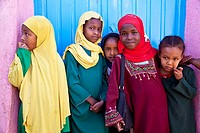 Schoolgirls outside a school, Harar, Ethiopia