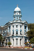 An old colonial building which was the former Central Bank building along Strand Road Myanmar Yangon