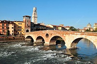 Italy, Veneto, Verona, Heritage listed old town UNESCO World, Ponte di Pietra bridge was built by the Romans in the first century after J-C to cross t...