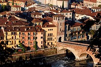 Italy, Veneto, Verona, Heritage listed old town UNESCO World, Ponte della Pietra, Pietra bridge was built by the Romans in the first century AD to cro...