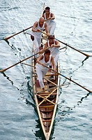 Venice  Italy  Rowing team racing during the Regata Storica Historical Regatta  The Regata Storica takes place annually on the first Sunday of Septemb...
