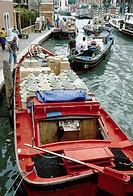 Italy  Venice  Barges loaded with supplies in Cannaregio