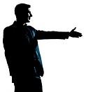 one caucasian man handshake profile portrait silhouette in studio isolated white background