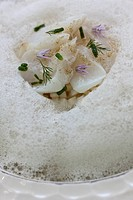 Thinly sliced scallops with fennel and citrus fruit